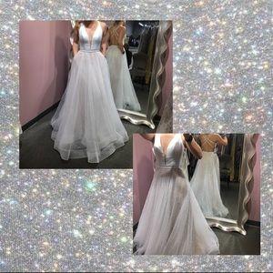 La Femme white ball gown